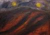 Uta Richter 1999 Landschaft mit zwei Sonnen 50x70 cm